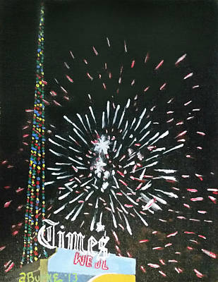 Fireworks Painting - Scranton Times Tower Fm Franklin Ave. by Austin Burke