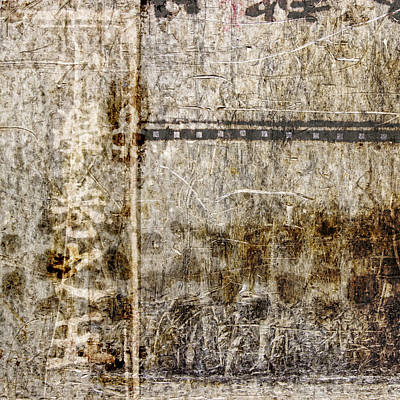 Montage Photograph - Scratched Metal And Old Books Number 1 by Carol Leigh