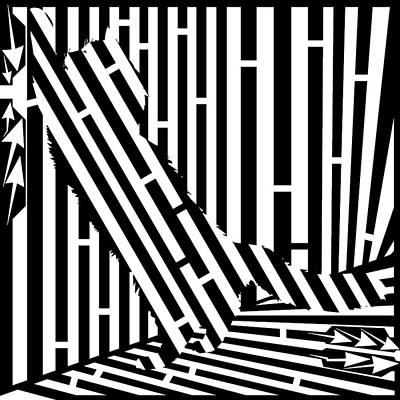 Scratching Cat Maze Art Print by Yonatan Frimer Maze Artist