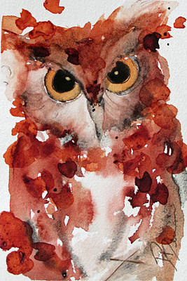 Screech Owl Painting - Screech by Dawn Derman