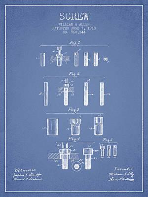 Carpenter Digital Art - Screw Patent From 1910 - Light Blue by Aged Pixel