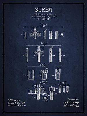 Carpenter Digital Art - Screw Patent From 1910 - Navy Blue by Aged Pixel