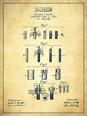 Carpenter Digital Art - Screw Patent From 1910 - Vintage by Aged Pixel