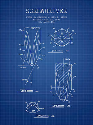 Craftsmen Digital Art - Screwdriver Patent From 1991 - Blueprint by Aged Pixel