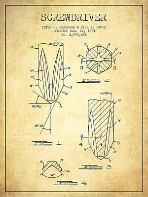 Carpenter Digital Art - Screwdriver Patent From 1991 - Vintage by Aged Pixel