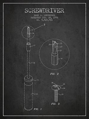 Carpenter Digital Art - Screwdriver Patent From 1996 - Dark by Aged Pixel