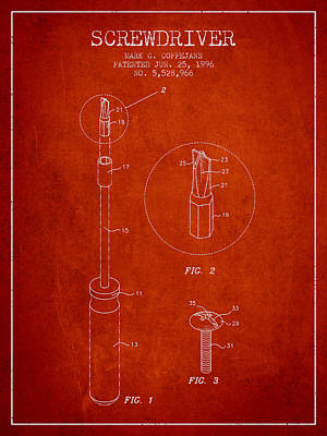 Carpenter Digital Art - Screwdriver Patent From 1996 - Red by Aged Pixel