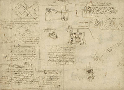 Plans Drawing - Screws And Lathe Assembling Press For Olives For Oil Production And Components Of Plumbing Machine  by Leonardo Da Vinci