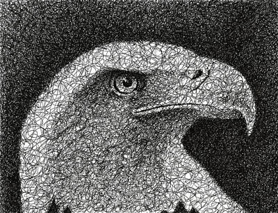 Feathered Drawing - Scribble Eagle by Nathan Shegrud