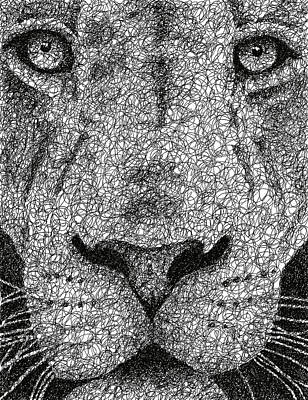 Haunting Drawing - Scribble Lion by Nathan Shegrud