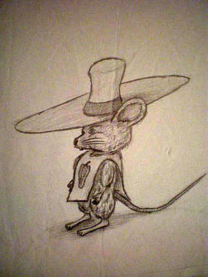 Poncho Drawing - Scribble Mouse by Steve Spagnola