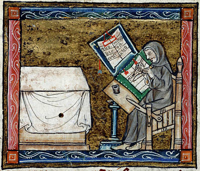 Scribes Photograph - Scribe Copying From An Exemplar by British Library