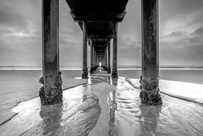 Art Print featuring the photograph Scripps Pier Black And White by Robert  Aycock
