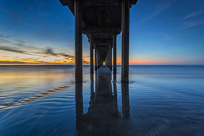 Surfing Photograph - Scripps Pier Blue Hour by Peter Tellone