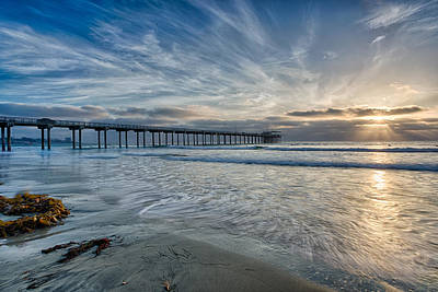 Surfing Photograph - Scripps Pier Sky And Motion by Peter Tellone
