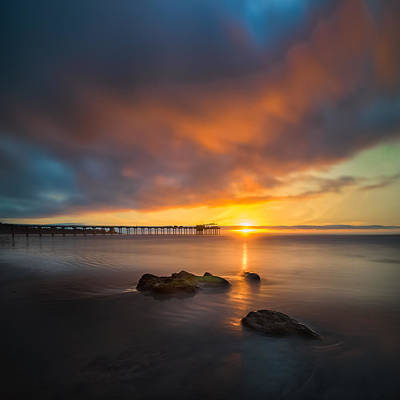 Long Exposure Photograph - Scripps Pier Sunset 2 - Square by Larry Marshall