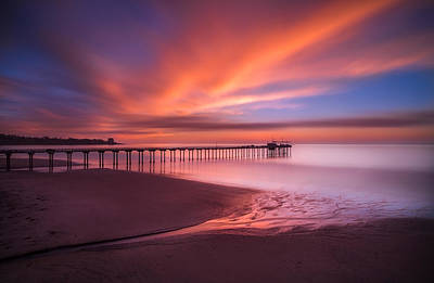 Long Exposure Photograph - Scripps Pier Sunset by Larry Marshall
