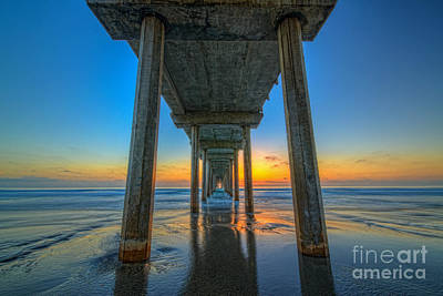 Scripps Pier Sunset Art Print by Michael Ver Sprill