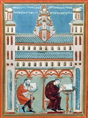 Scribe Painting - Scriptorium, C1040 by Granger