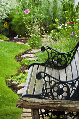Victoria Magazine Style Photograph - Scroll Bench Garden Scene Digital Artwork by Sandra Foster