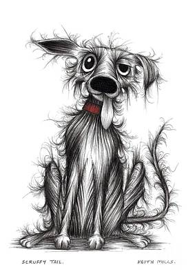 Mutt Drawing - Scruffy Tail by Keith Mills