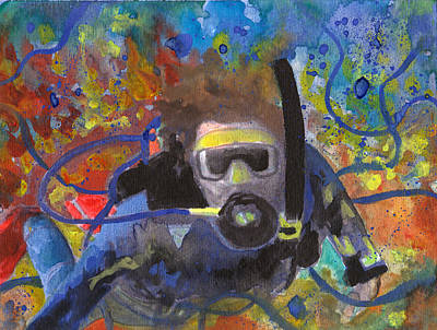 Breathing Mixed Media - Scuba Diver Tangled by Susan Powell