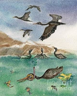 Painting - Scubba Diving Cormorant From A Bird's Eye View by Donna Acheson-Juillet