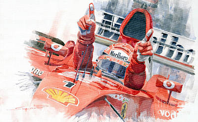 Watercolor Sports Painting - 2001 Scuderia Ferrari Marlboro F 2001 Ferrari 050 M Schumacher  by Yuriy  Shevchuk