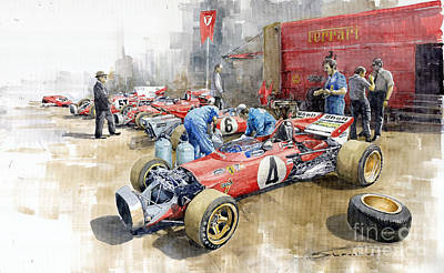 Watercolor Sports Painting - Scuderia Ferrari Paddock Spanish Gp 1971 Ferrari 312b2  by Yuriy Shevchuk