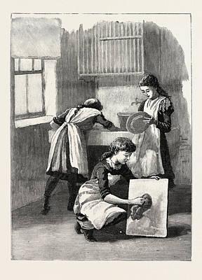 Scullery Work, Washing Up, School, London Art Print by English School