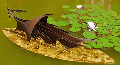 Photograph - Sculpture And Water Lilies by Herb Paynter