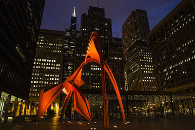 Photograph - Sculpture And Willis Tower by John McGraw