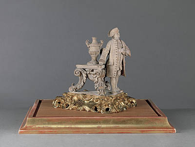 Sculpture, Figure Of The Artists Father Engraved On Gilded Art Print by Litz Collection