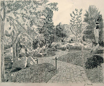 Prescott Drawing - Sculpture Garden In The Fall by Joanna Franke