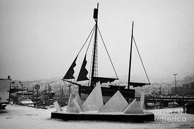 Sculpture Of A Sailing Ship In Ice Pack In Hammerfest Harbour In Winter Finnmark Norway Europe Art Print by Joe Fox