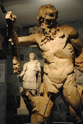 Photograph - Sculpture Through Sculpture -  Zeus And Trajan  by Jacqueline M Lewis