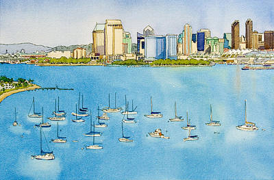 Sd Skyline Pen And Ink Art Print by Mary Helmreich