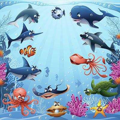 Painted Turtle Wall Art - Digital Art - Sea Animals by Alonzodesign