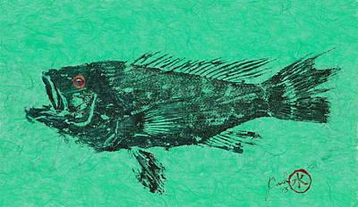Sea Bass On Aegean Green Thai Unryu Paper Art Print