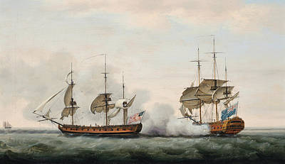 Pirate Ship Painting - Sea Battle by Francis Holman