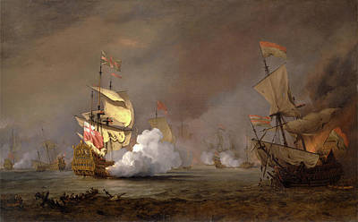 Sea Battle Of The Anglo-dutch Wars The Battle Of Lowestoft Art Print
