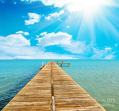 Sea Beautiful And Sky Print by Boon Mee