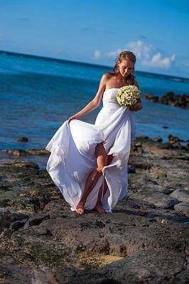 Family Beach Wedding Wall Art - Photograph - Sea Bride  by Jenny Rainbow