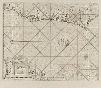 Siren Drawing - Sea Chart Of A Portion Of The Bay Of Biscay In Bilbao by Anonymous And Claes Jansz Voogt And Johannes Van Keulen (ii)