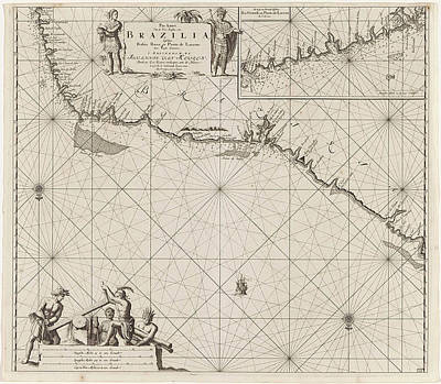 Northeast Drawing - Sea Chart Of A Portion Of The Northeast Coast Of Brazil by Jan Luyken And Johannes Van Keulen (i)