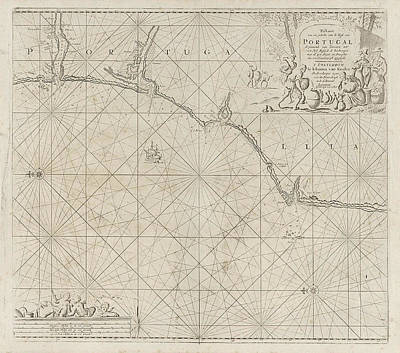Pitcher Drawing - Sea Chart Of A Portion Of The South Coast Of Portugal by Jan Luyken And Anonymous And Johannes Van Keulen I