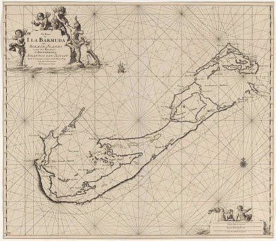 Bermudas Drawing - Sea Chart Of Bermuda, Jan Luyken, Claes Jansz Voogt by Jan Luyken And Claes Jansz Voogt And Johannes Van Keulen (i)