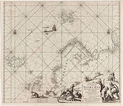 North Sea Drawing - Sea Chart Of Northern Part Of Atlantic And Arctic Ocean by Jan Luyken And Johannes Van Keulen I