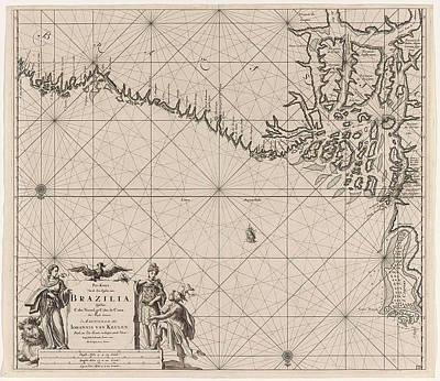 Sea Chart Of Part Of The Coast Of Brazil With The Delta Print by Jan Luyken And Claes Jansz Voogt And Johannes Van Keulen I