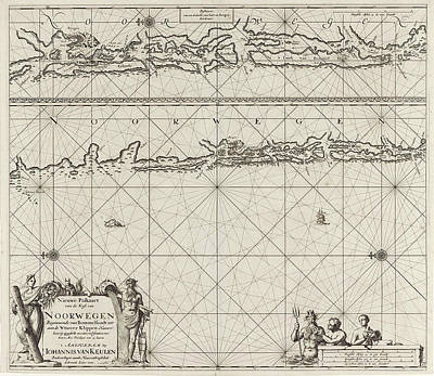 Cornucopia Drawing - Sea Chart Of Part Of The Coast Of Norway Near Bergen by Jan Luyken And Johannes Van Keulen I